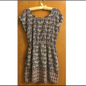 Polyester cap sleeve printed dress with pockets
